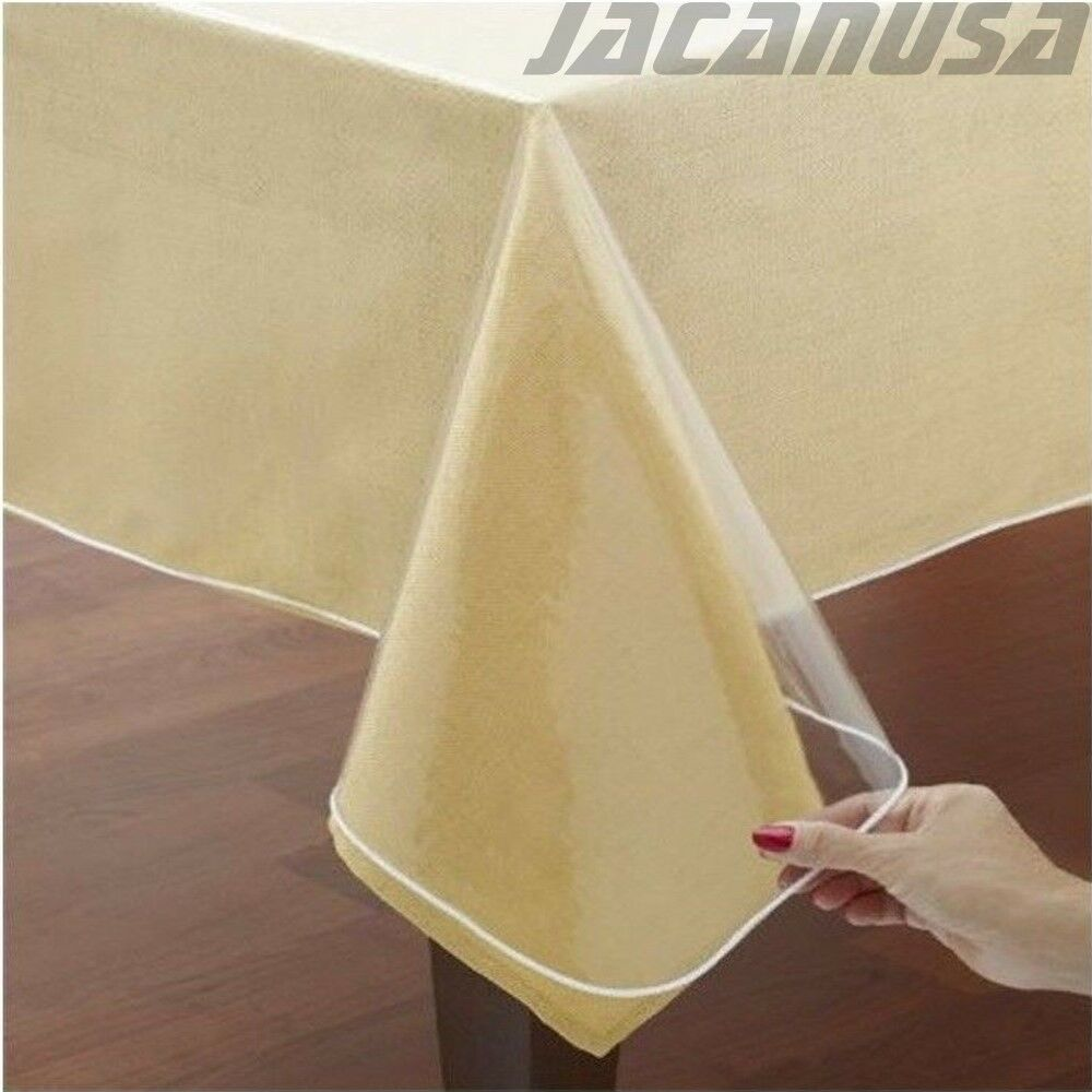 Crystal Clear Vinyl Tablecloth Protector Double Hammed  : s l1000 from www.ebay.com size 1000 x 1000 jpeg 87kB