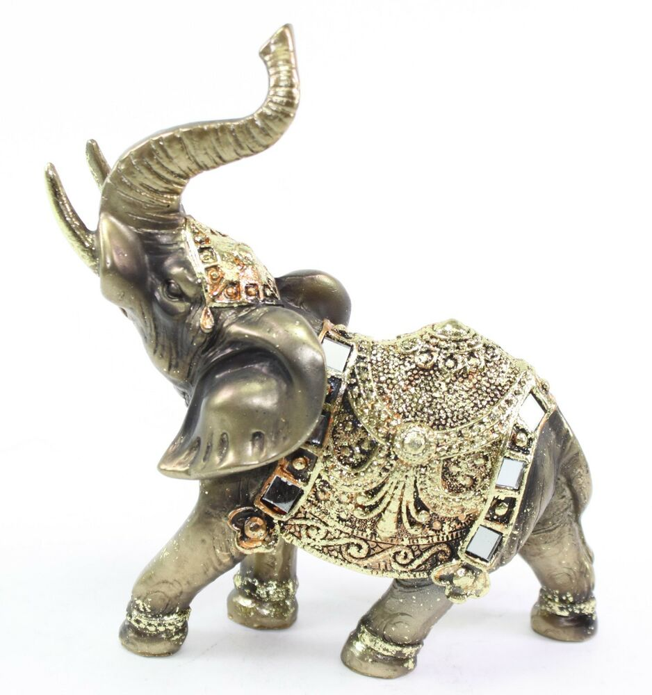feng shui bronze elephant trunk statue wealth lucky figurine gift home decor ebay. Black Bedroom Furniture Sets. Home Design Ideas
