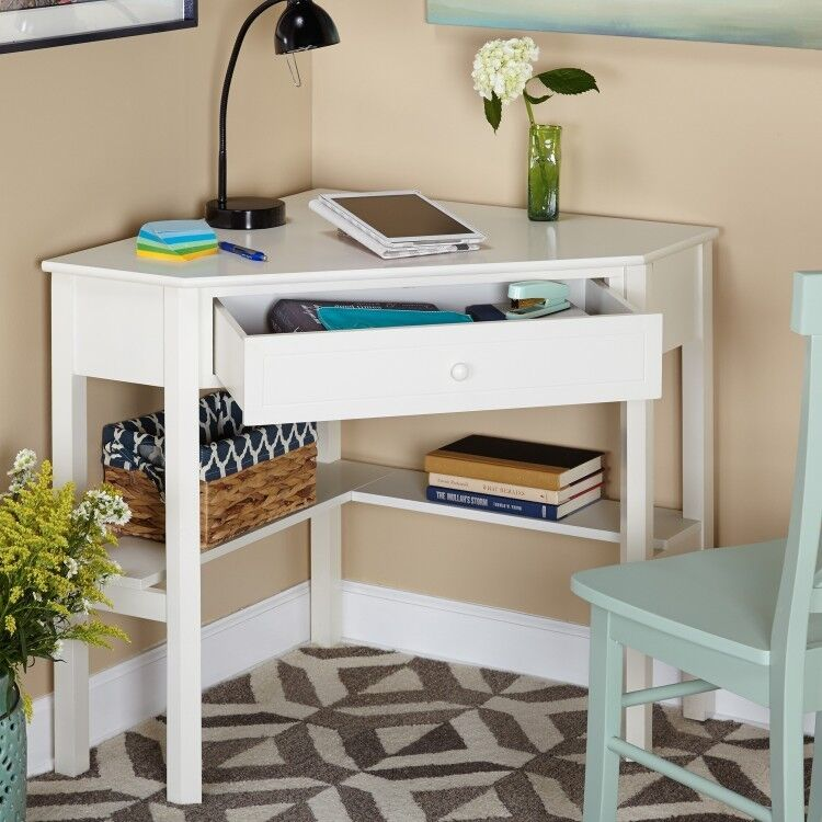 corner computer desk antique white solid wood home office 87955