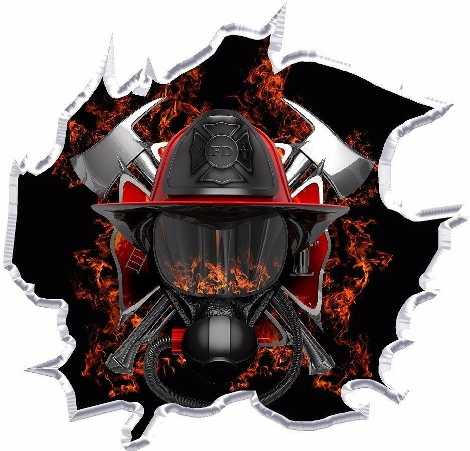Firefighter Ripped Vinyl Graphic Decal Ebay