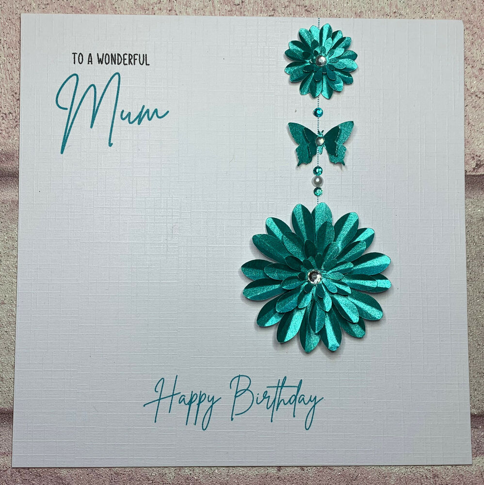 Details About PERSONALISED Handmade BIRTHDAY Card Flowers MUM NAN