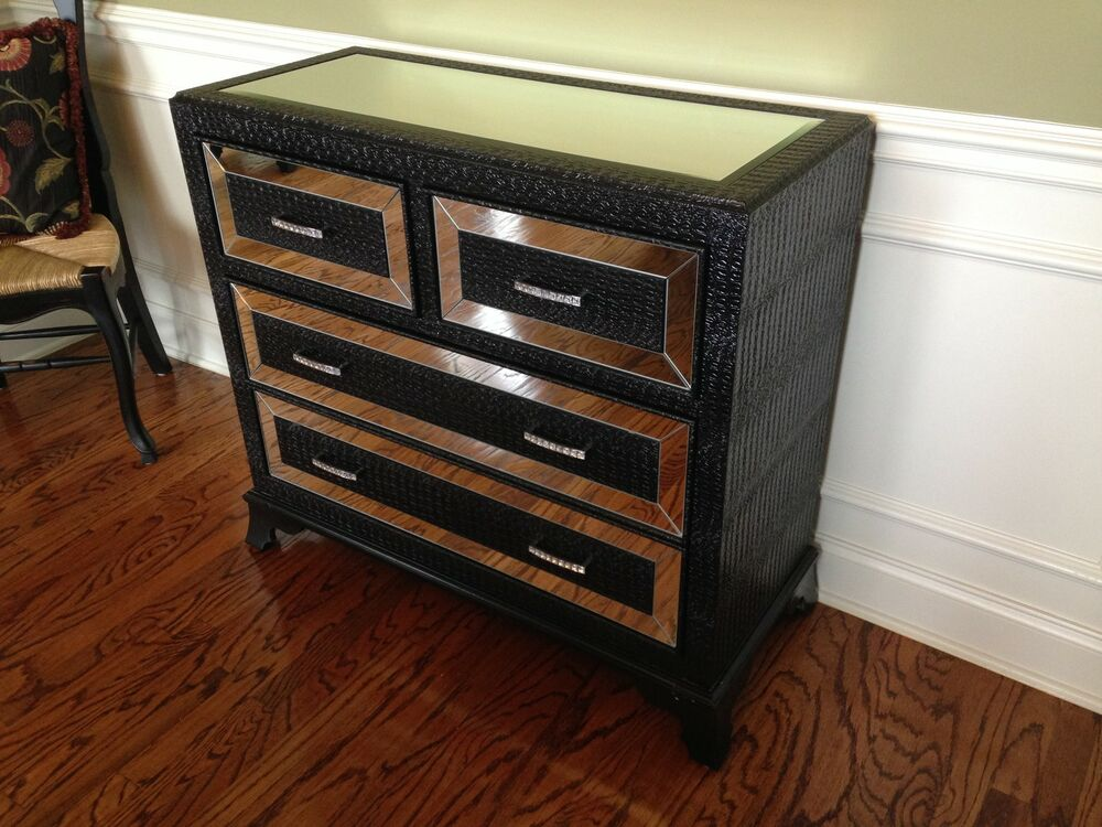 Hollywood Regency Mirrored Console Cabinet Chest Table Black Bedroom Furniture Ebay