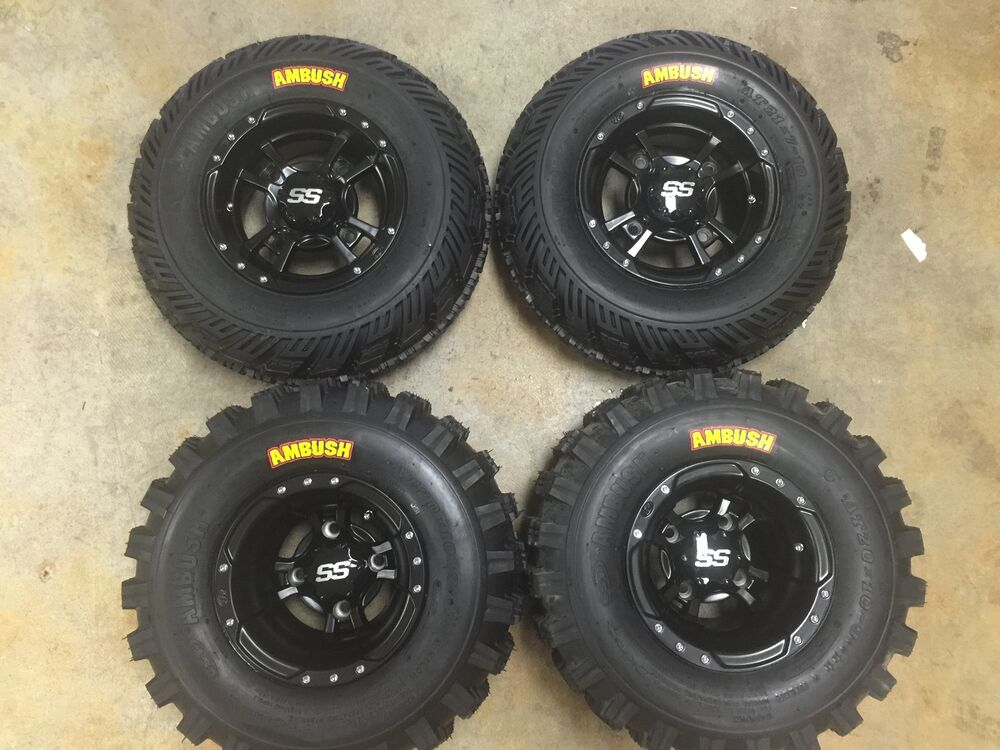 Four Wheeler With Rims: SET 4 YAMAHA RAPTOR 350 660 700 R BLACK ITP SS112 Rims