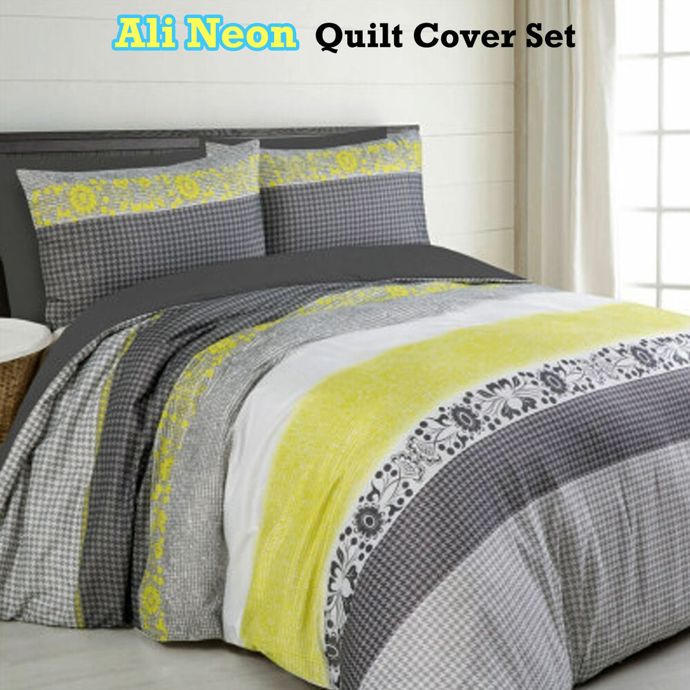Ali Neon Grey Yellow Quilt Duvet Cover Set Single Double