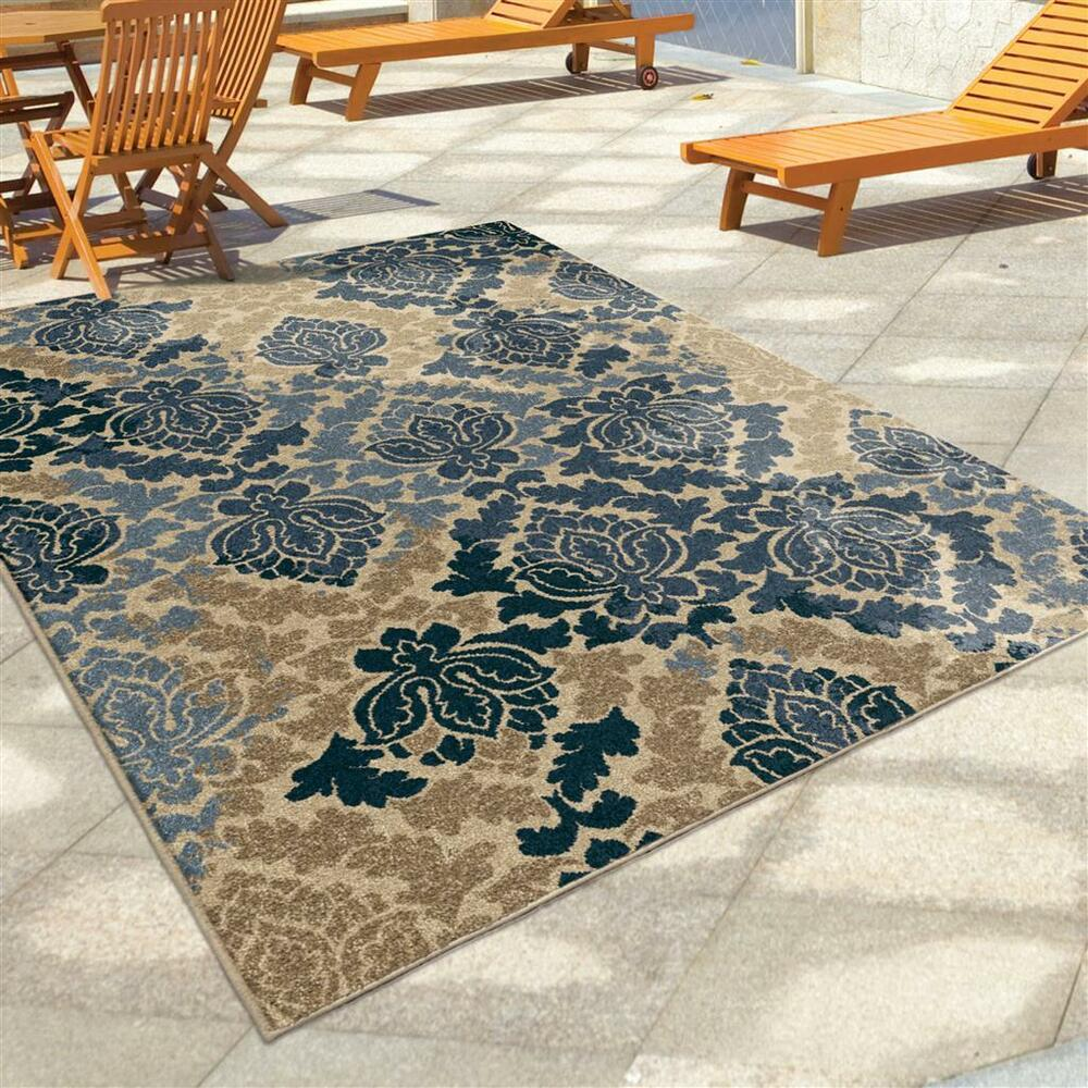 "Outdoor Rug 7 X 10: 8x11 (7'8"" X 10'10"") Contemporary Transitional Blue Indoor"