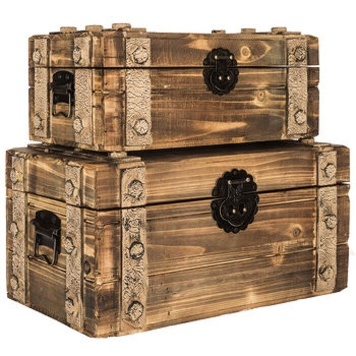 Decorative Trunk Boxes: Antique Style Brown Lined Wood Box Set With Metal Bands