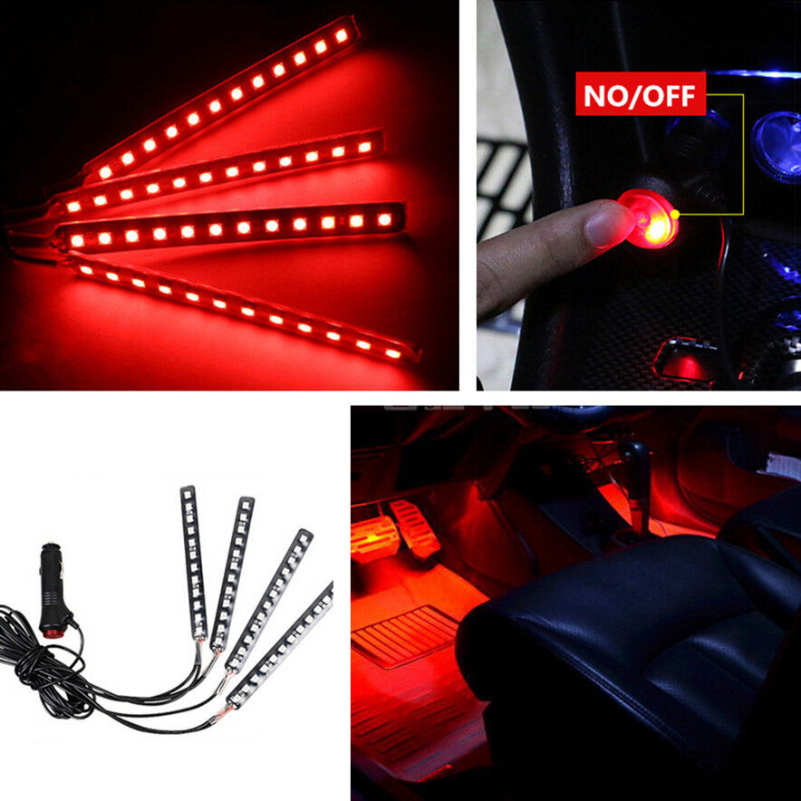 4 In 1 Car Interior Decorative Light 12 Led Atmosphere Red