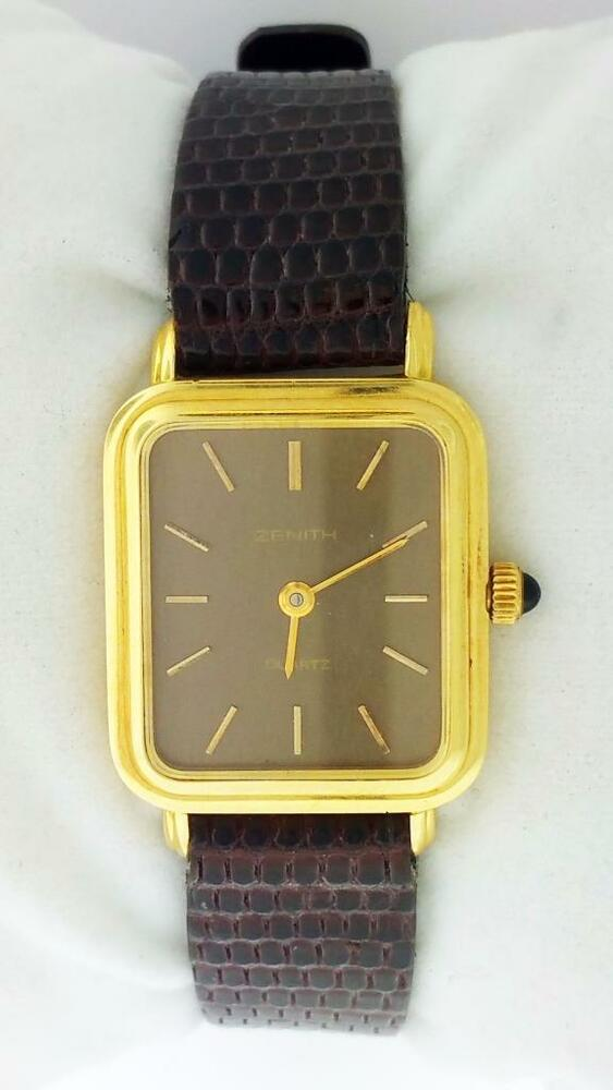 18k Yellow Gold Zenith Square Watch Sapphire Crystal Crown