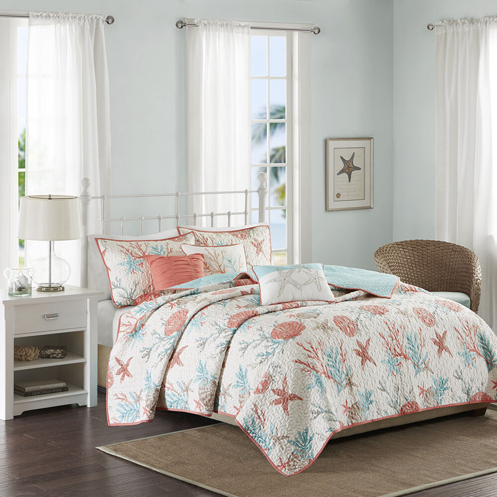 BEAUTIFUL BEACH SEA NAUTICAL AQUA BLUE TEAL COAST CORAL ...