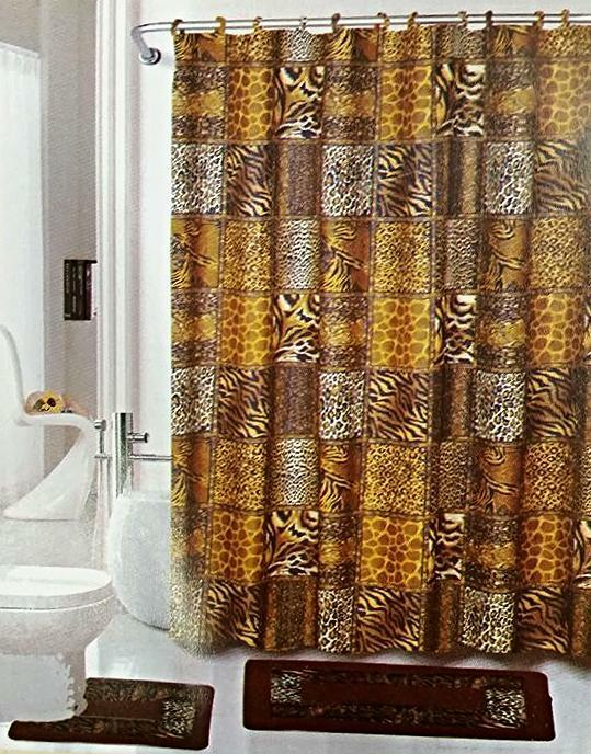 safari brown 15 piece bathroom set animal print bath rugs shower curtain rings ebay. Black Bedroom Furniture Sets. Home Design Ideas