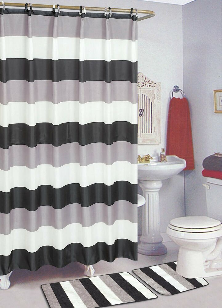 Black white 15 piece bathroom set bath rugs shower for Black and white bathroom sets