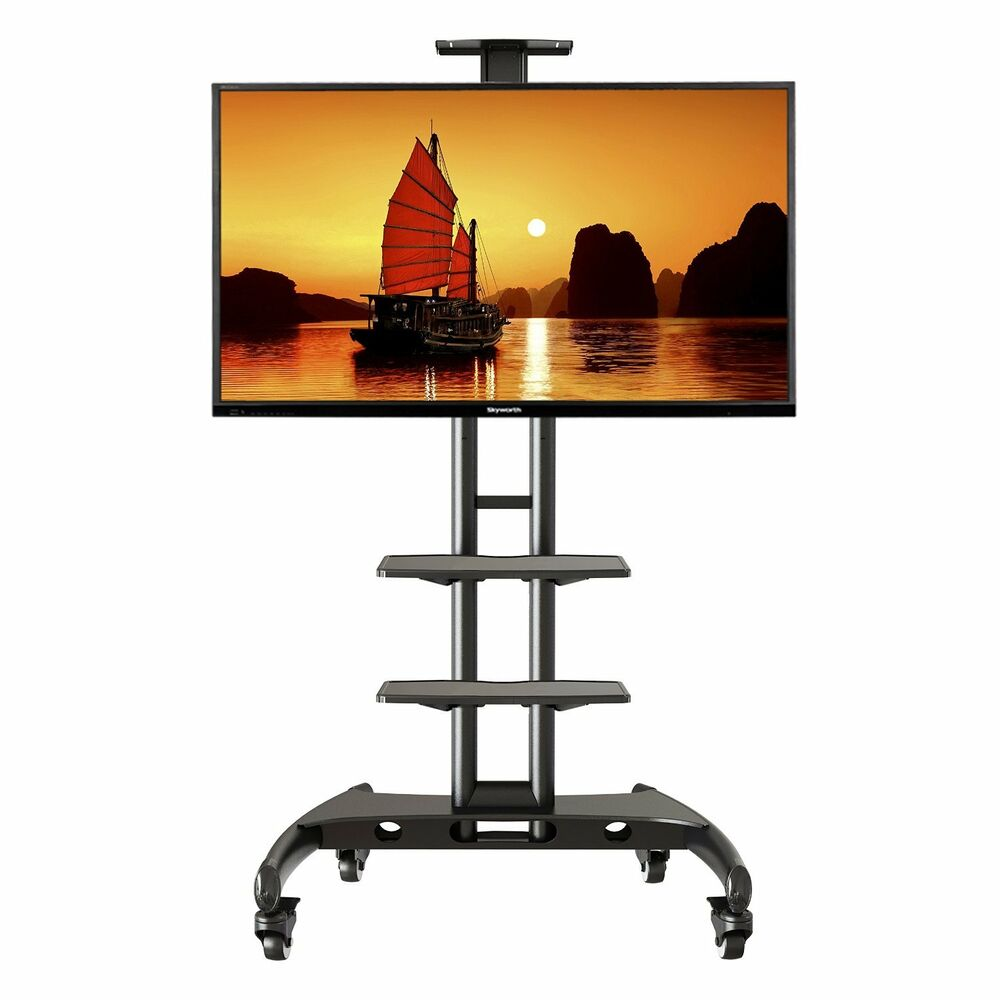 Universal Mobile Tv Cart With Wheels And 2 Shelves Fits 32