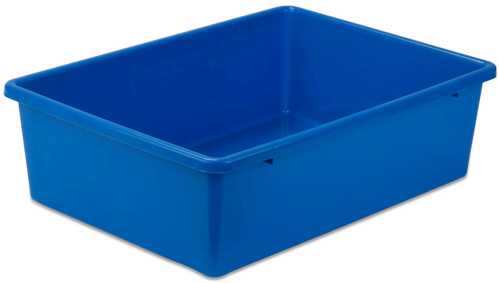 Large Blue Plastic Storage Bins Prt Srt1602 Lgblu Ebay