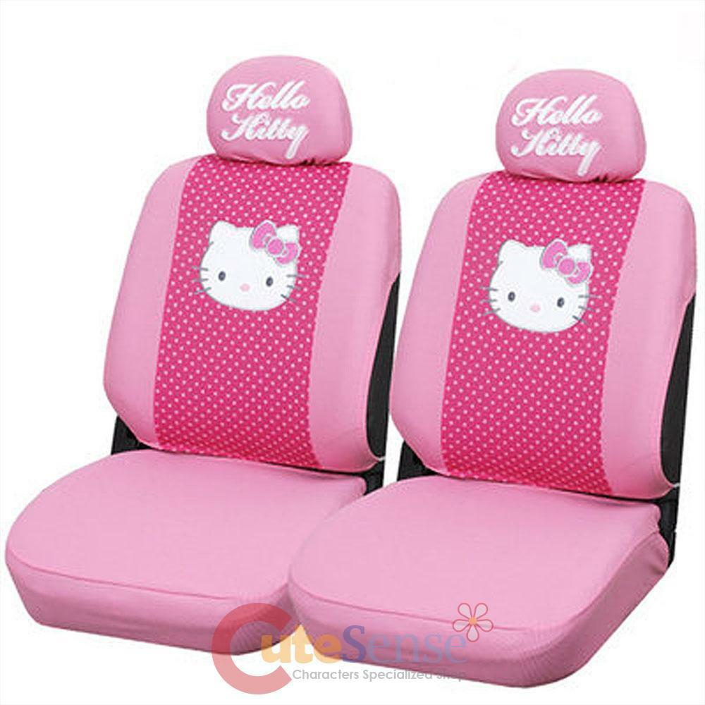 hello kitty car seat cover set auto accessory 2 front seat low back pink polka ebay. Black Bedroom Furniture Sets. Home Design Ideas
