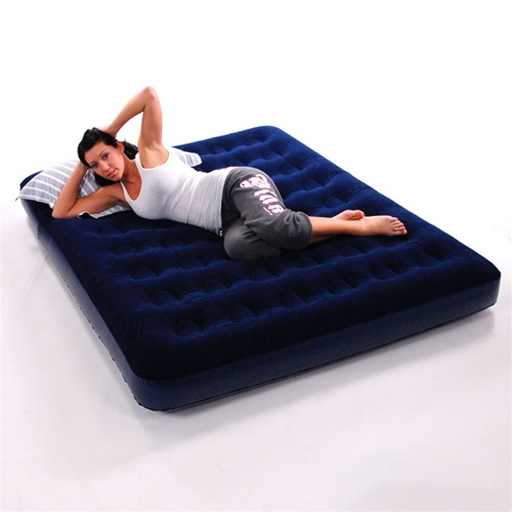 double inflatable flocked blow up air bed airbed guest camping mattress ebay. Black Bedroom Furniture Sets. Home Design Ideas
