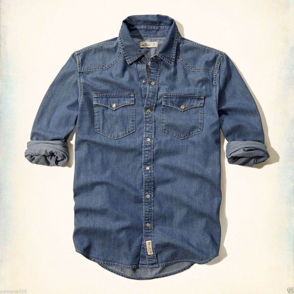 HOLLISTER MEN DENIM SHIRT Size M L XL NWT blue long sleeve ...