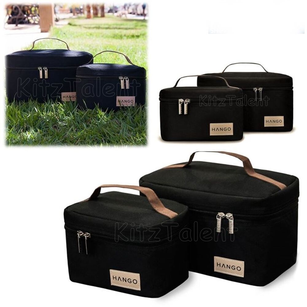 insulated lunch box bento cooler bag food container set of 2 size black trave. Black Bedroom Furniture Sets. Home Design Ideas