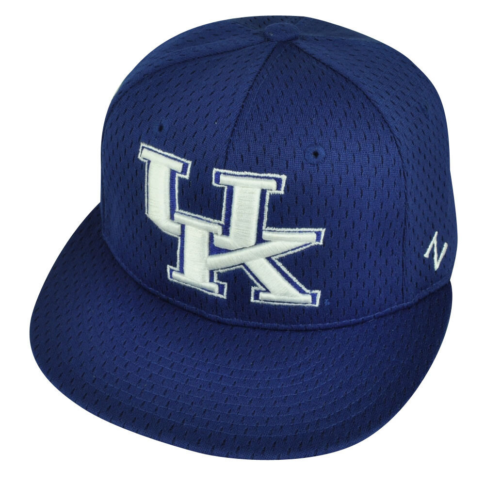 separation shoes 3f181 dc746 Details about NCAA Kentucky Wildcats Flat Bill Zephyr Blue Fitted Size Hat  Cap UK Jersey Mesh