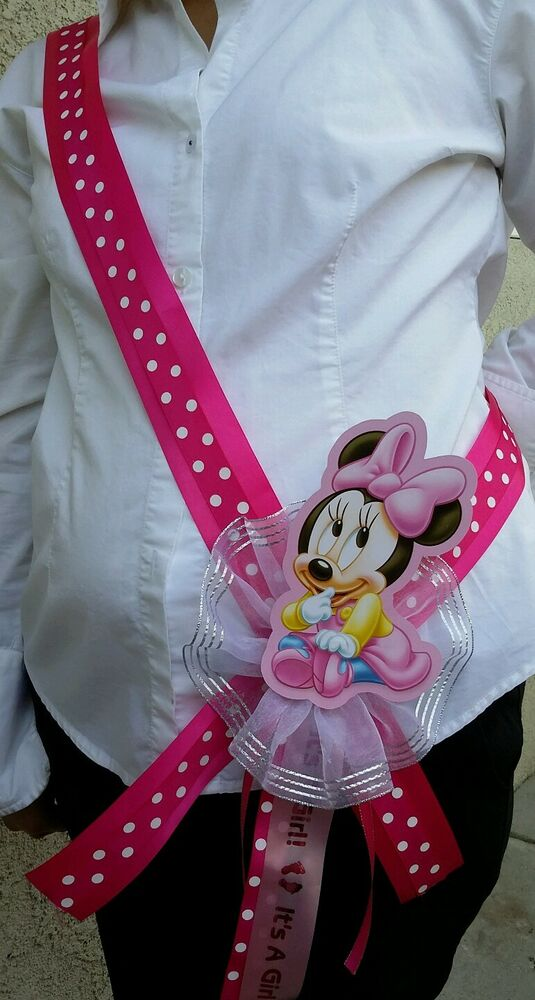1 Baby Shower Mom To Be Sash With Minnie Mouse Pink Girl