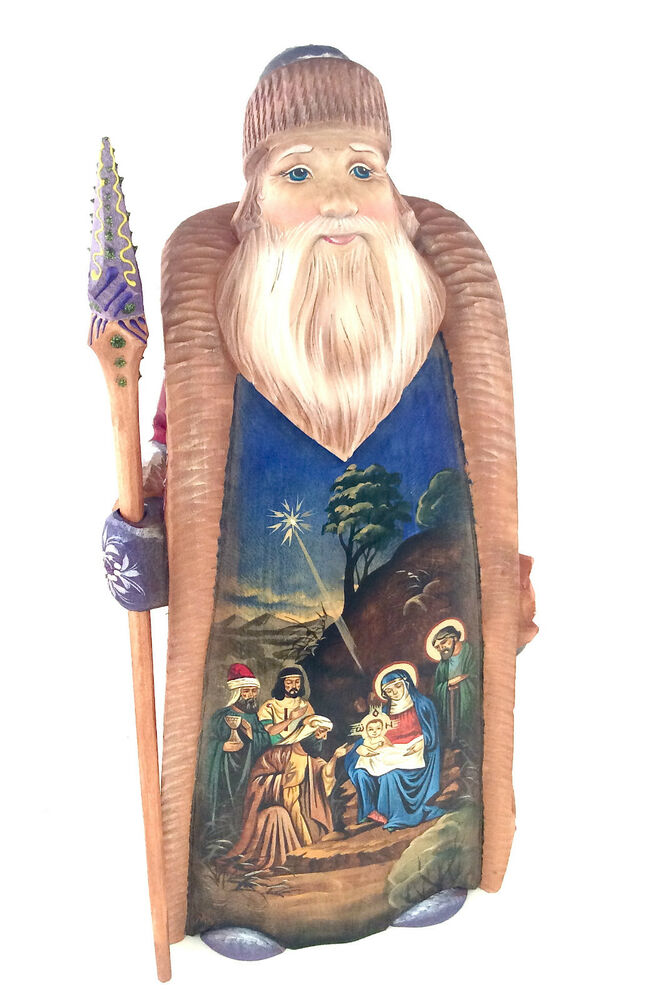 """12 Russian Supermodels Who Gained International Success: 12"""" Russian SANTA NATIVITY SCENE Wooden Hand Carved Hand"""