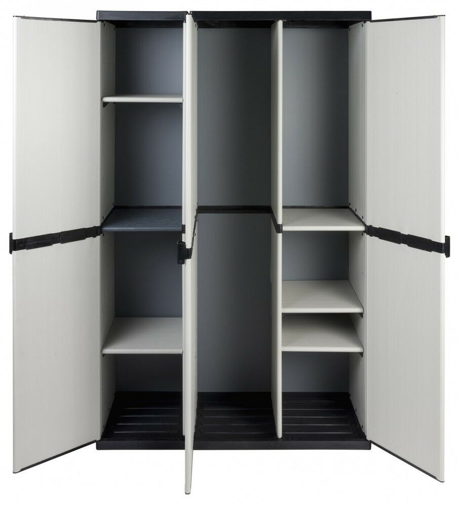 xxl haushaltsschrank gartenschrank spind schrank kunststoffschrank 3 t ren grau ebay. Black Bedroom Furniture Sets. Home Design Ideas