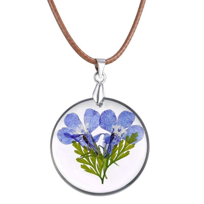 Natural Real Dried Flowers Round Glass Pendant Pressed