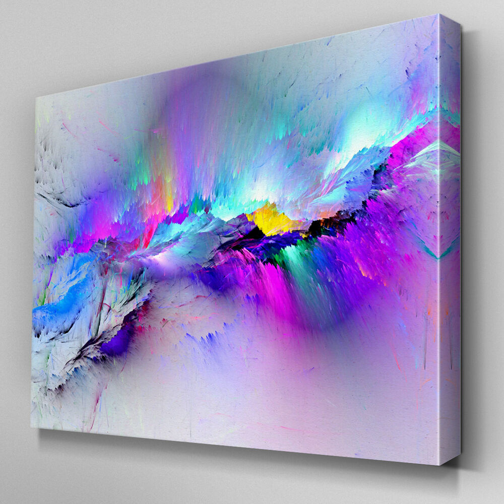 Ab968 modern multicoloured blue canvas wall art abstract for Where to buy canvas art
