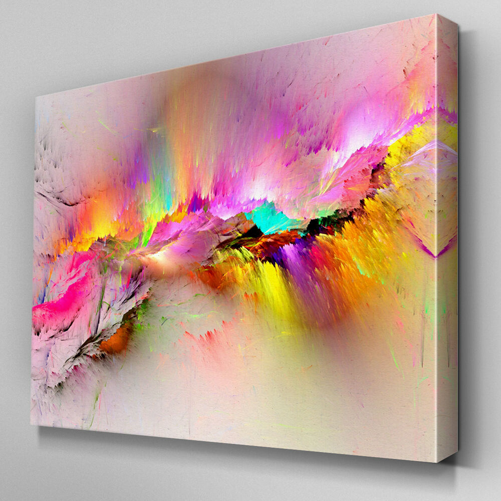 Ab970 modern pink yellow large canvas wall art abstract for Buy large canvas prints