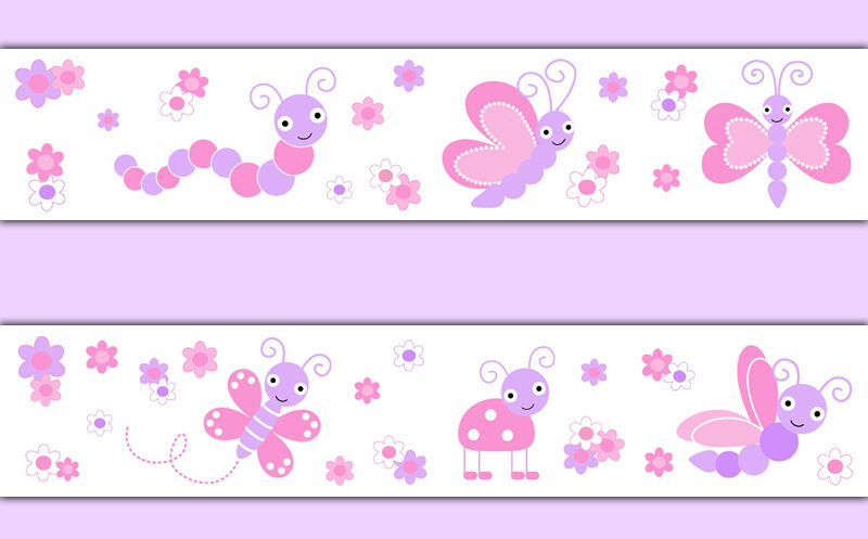 Butterfly Wallpaper Border Wall Art Decal Pink Purple Baby
