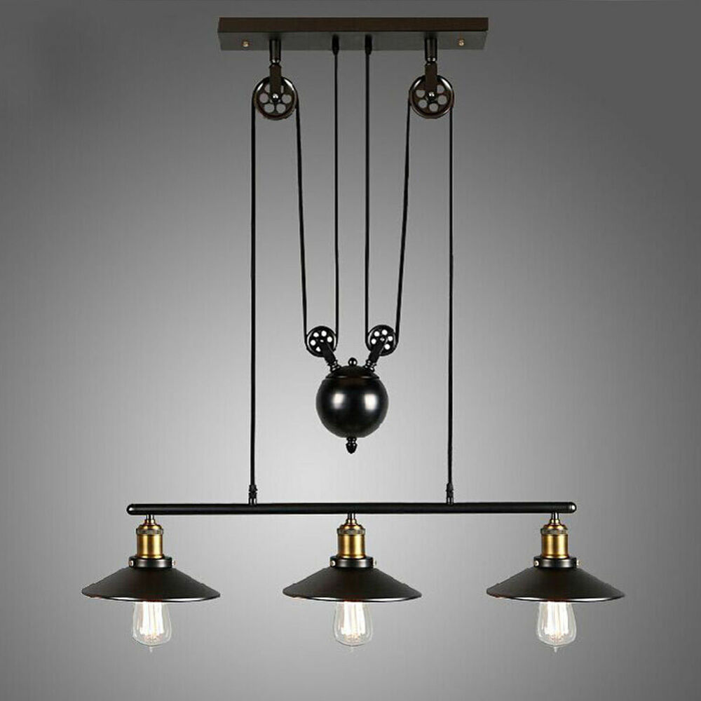 Vintage pulley pendant loft ceiling light hanging lamp for Suspension luminaire triple