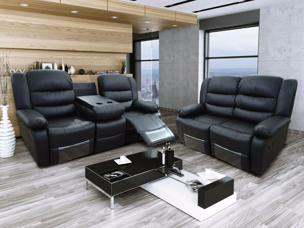 New Roma Luxury Black Bonded Leather Recliner Sofa With