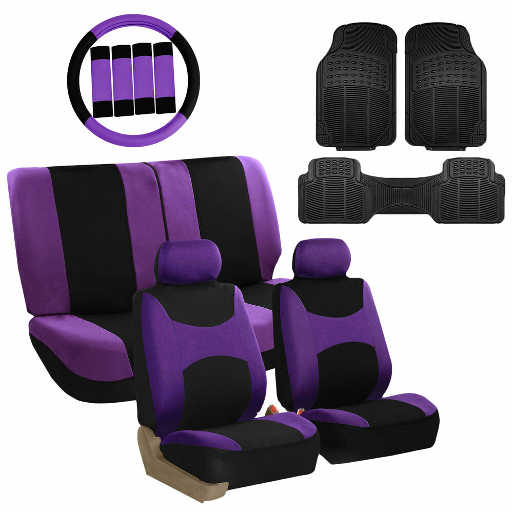 Lavender Black Car Seat Covers For Auto W Steering Cover