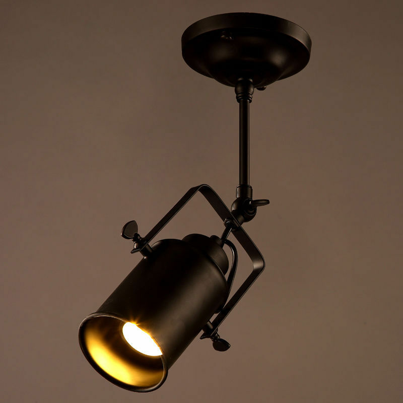 Industrial Loft Monorail Spot Light Chandelier LED Semi Flush Mount ...