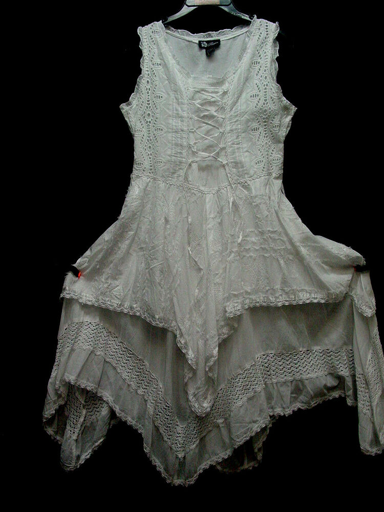 Boho Wedding Dress Size 18 : Cotton chemise lace and emboidery hippy boho bohemian