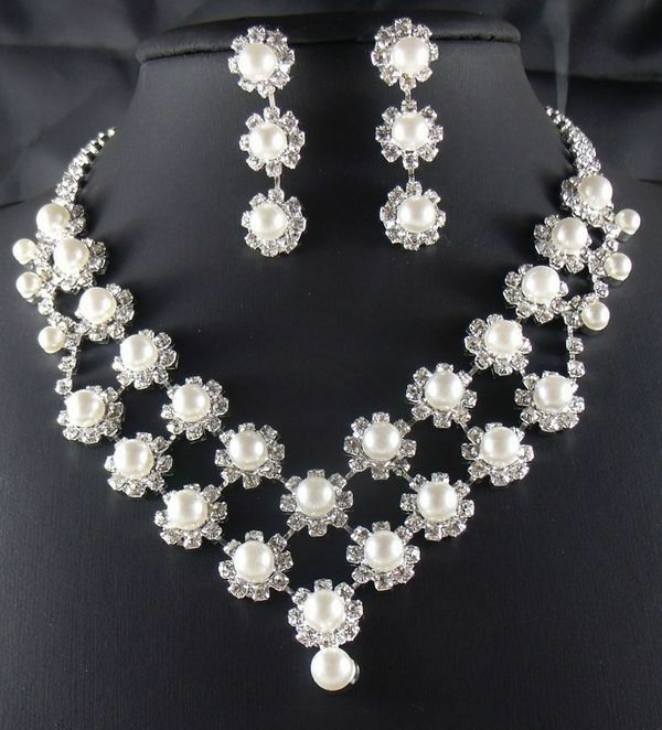 wedding jewelry jewellery set cream pearl crystal