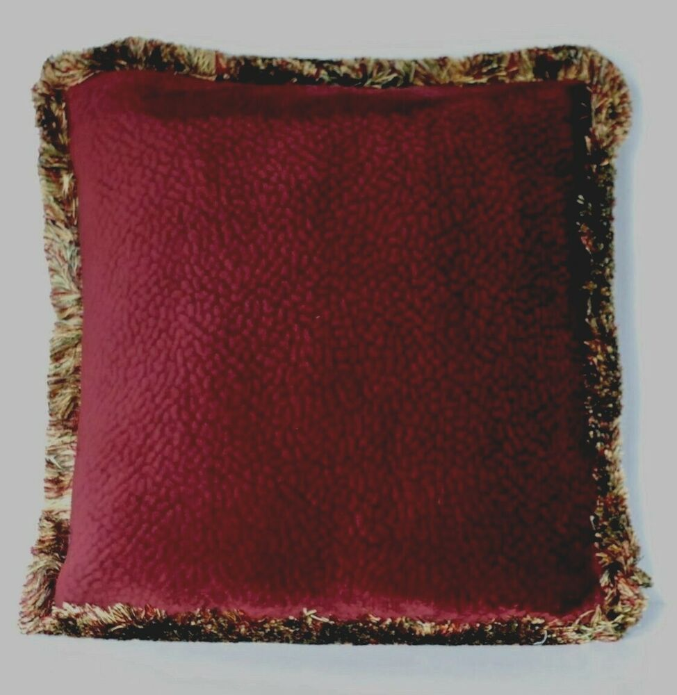 solid burgundy velvet decorative throw pillow with fringe for sofa or couch eBay