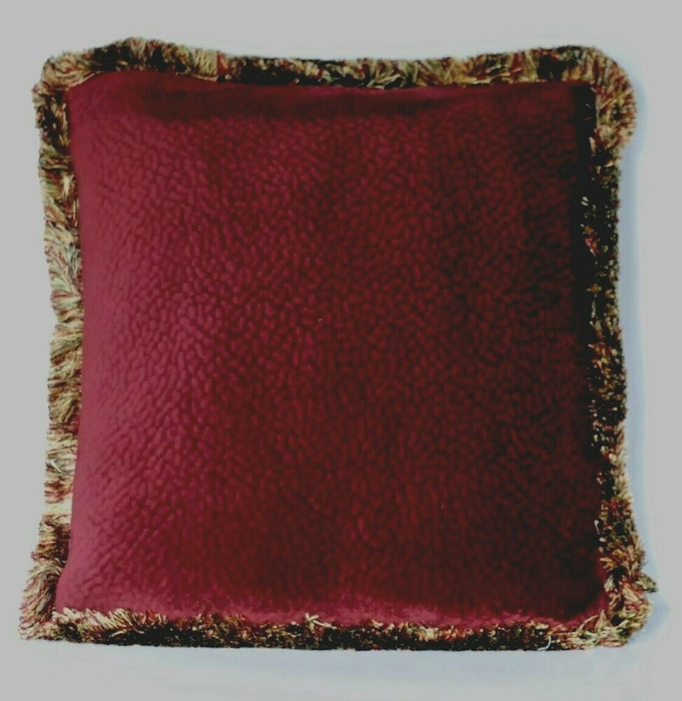 Throw Pillows For Burgundy Couch : solid burgundy velvet decorative throw pillow with fringe for sofa or couch eBay