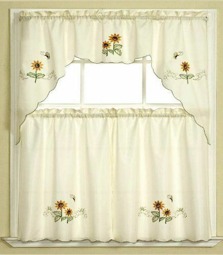 Kitchen Curtains Sets Amazon: 3pc Beige+Yellow Sunflower And Butterfly Kitchen/Cafe