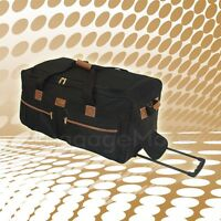 "25"" Black Rolling Duffel Bag Wheeled Luggage Suitcase Travel Tote Duffle Bag New"