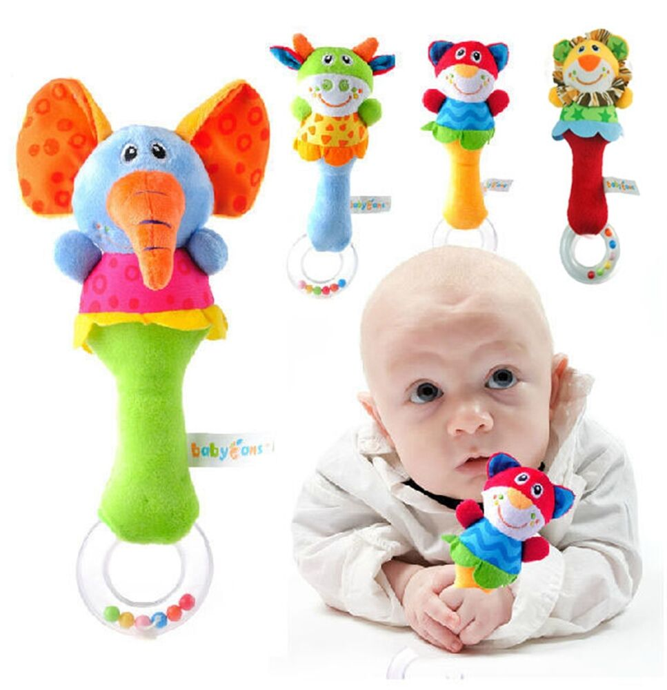 Baby Rattle Toys : Animal handbells musical developmental toy bed bells kids