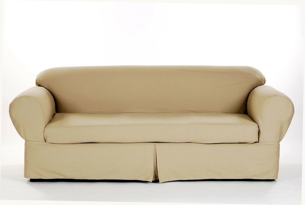 All Cotton Brushed Twill 2 Piece Round Arm Loveseat Slipcover Cover Solid Khaki Ebay