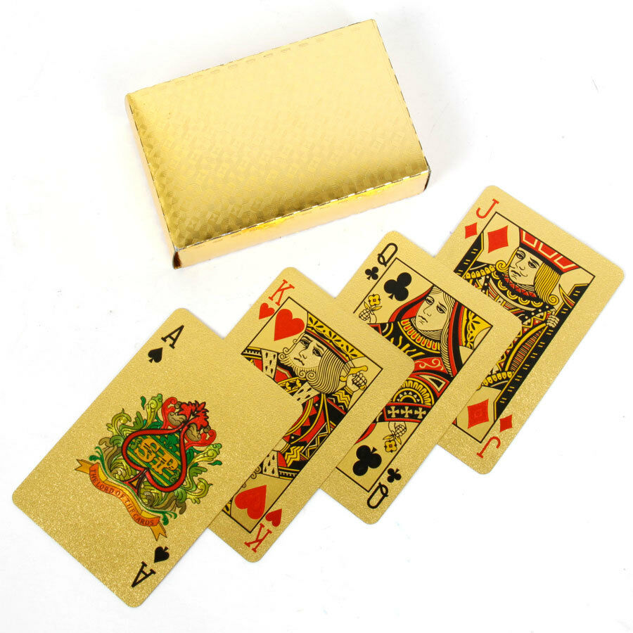 4 Decks Of 24 Karat 99.9% Gold Plated Playing Cards, 54