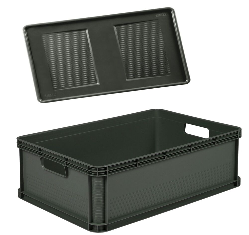 robusto box mit deckel 45 l graphite aufbewahrungsbox box kiste ebay. Black Bedroom Furniture Sets. Home Design Ideas