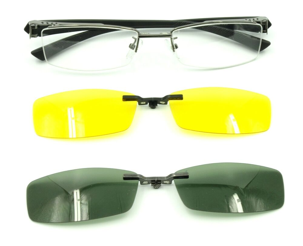 2 Pcs Magnetic Clip-On Sunglasses Mens Half Rimless ...