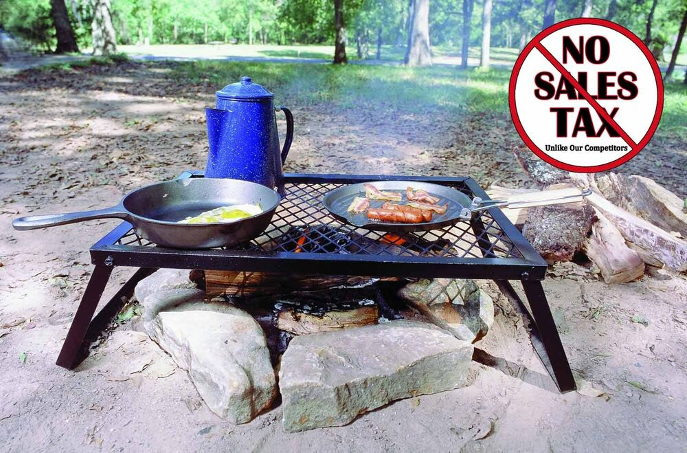 Camp fire grill grate cooking outdoor bbq portable steel pit camping