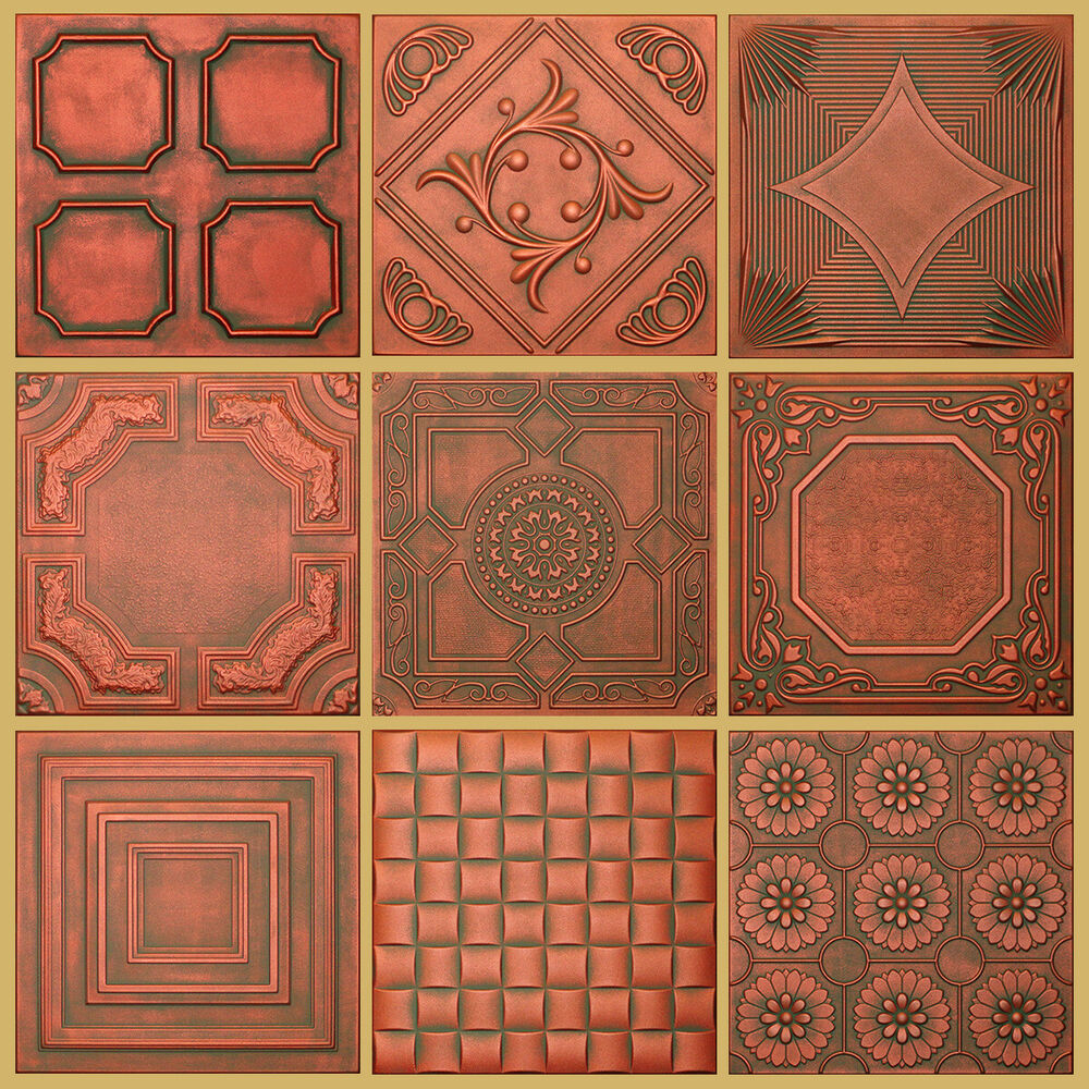 Decorative Texture Ceiling Tiles Glue Up Copper Patina