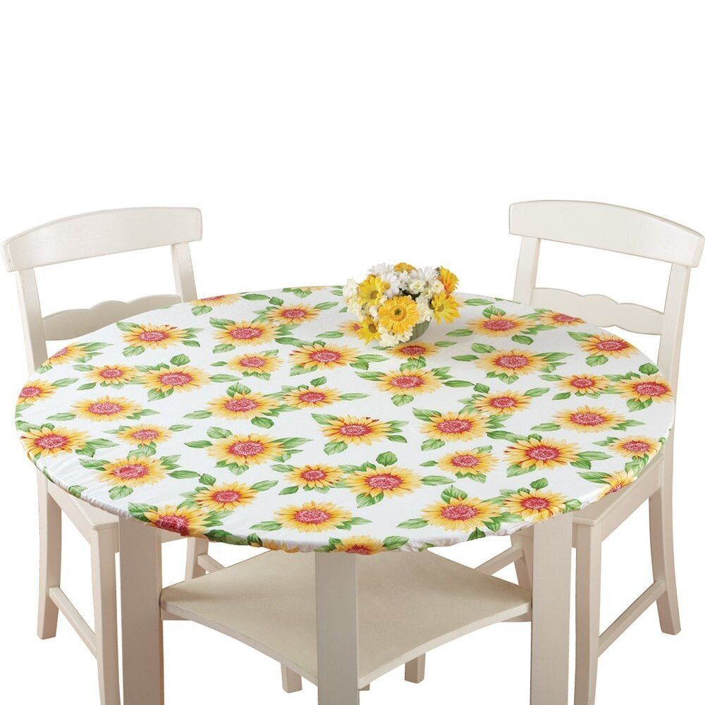 Fitted Elastic Table Cover Sunflower 48 Quot Round Ebay