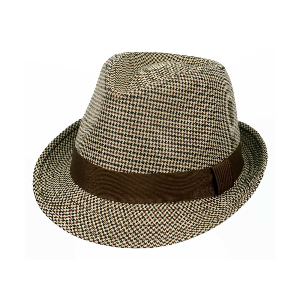 779f56137e2841 Details about Adult Fedora Swanky Tuxedo Low Rider Herrigbone Cosplay  Costume Tan Brown Hat