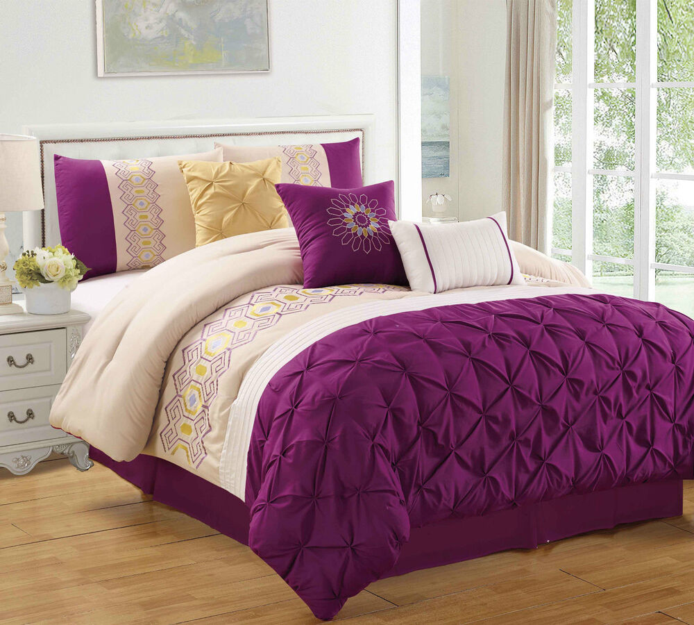 Purple Sunshine 7 Piece Embroidered Pinched Comforter Set