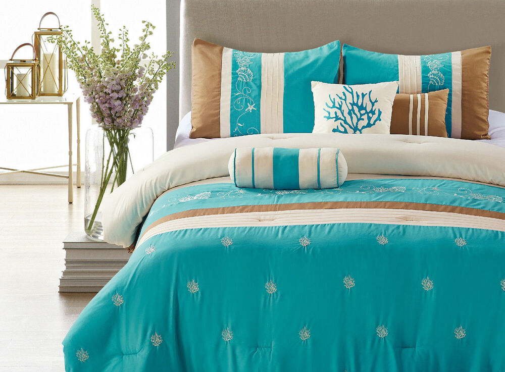 Blue Coast 7 Piece Embroidered Comforter Set Soft Bedding
